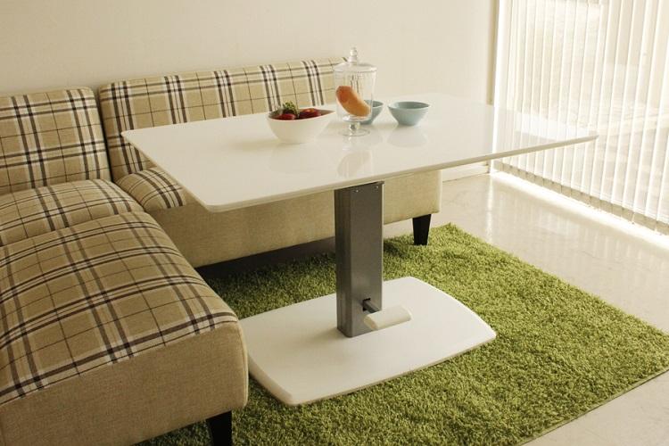 東馬 クアトロ ダイニング昇降テーブル ホワイト 白 リフティングテーブル リビングテーブル センターテーブル 木製 北欧風 tohma 人気