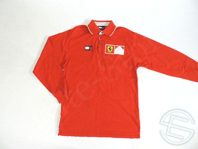 【送料無料】 フェラーリ 2000年 支給品 トミーヒルフィガー製 イギリスGP限定 ドライバー用 長袖 ポロシャツ メンズ M used (海外直輸入 F1 非売品USEDグッズ)