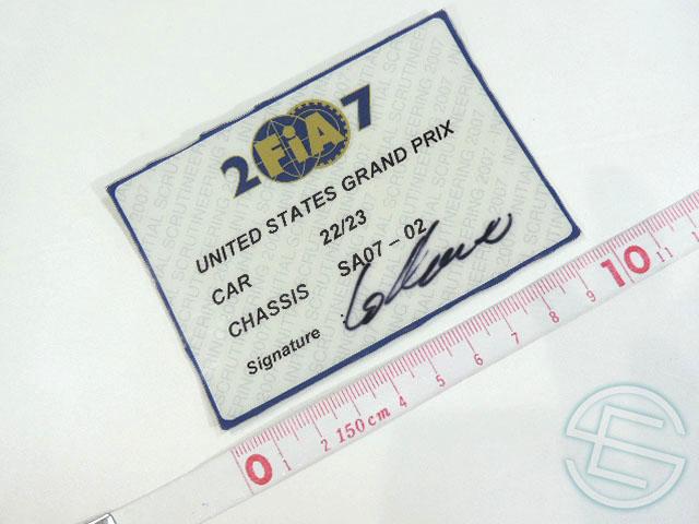 【送料無料】 スーパーアグリ 2007年 アメリカGP SA07-02 実使用 車検証 (海外直輸入 F1 非売品USEDグッズ)
