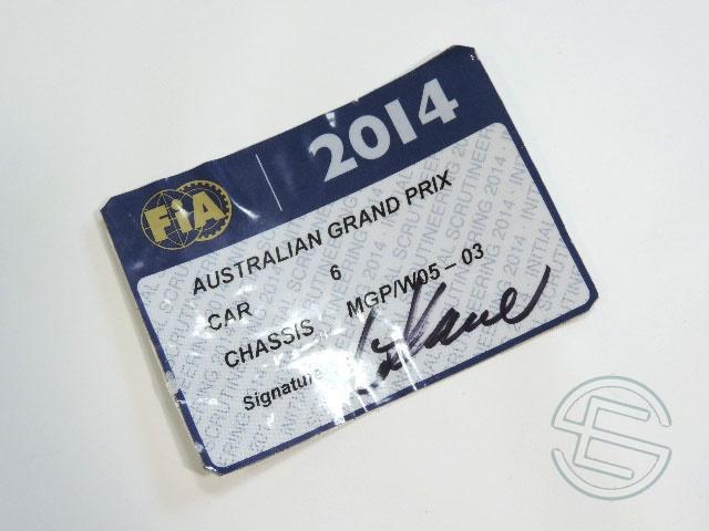 【送料無料】 ニコ・ロズベルグ 2014年 メルセデス AMG オーストラリアGP W05-03 実使用 車検証 (海外直輸入 F1 非売品USEDグッズ)