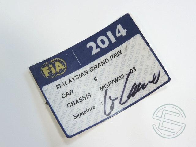 【送料無料】 ニコ・ロズベルグ 2014年 メルセデス AMG マレーシアGP W05-03 実使用 車検証 (海外直輸入 F1 非売品USEDグッズ)