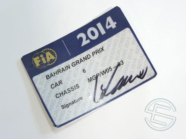 【送料無料】 ニコ・ロズベルグ 2014年 メルセデス AMG バーレーンGP W05-03 実使用 車検証 (海外直輸入 F1 非売品USEDグッズ)