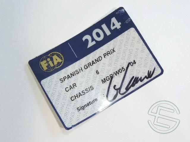 【送料無料】 ニコ・ロズベルグ 2014年 メルセデス AMG スペインGP W05-04 実使用 車検証 (海外直輸入 F1 非売品USEDグッズ)