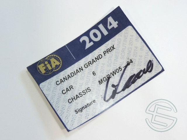 【送料無料】 ニコ・ロズベルグ 2014年 メルセデス AMG カナダGP W05-04 実使用 車検証 (海外直輸入 F1 非売品USEDグッズ)