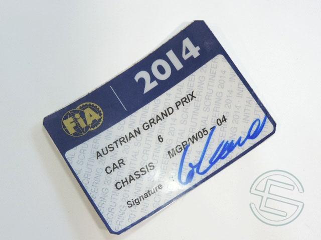 【送料無料】 ニコ・ロズベルグ 2014年 メルセデス AMG オーストリアGP W05-04 実使用 車検証 (海外直輸入 F1 非売品USEDグッズ)