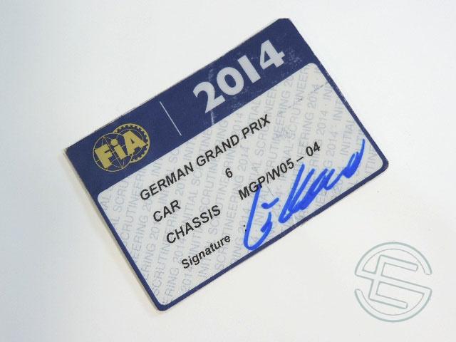 【送料無料】 ニコ・ロズベルグ 2014年 メルセデス AMG ドイツGP W05-04 実使用 車検証 (海外直輸入 F1 非売品USEDグッズ)