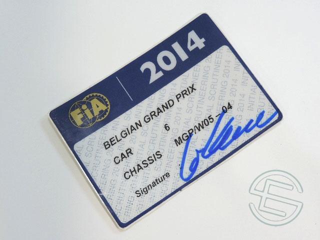 【送料無料】 ニコ・ロズベルグ 2014年 メルセデス AMG ベルギーGP W05-04 実使用 車検証 (海外直輸入 F1 非売品USEDグッズ)