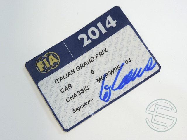 【送料無料】 ニコ・ロズベルグ 2014年 メルセデス AMG イタリアGP W05-04 実使用 車検証 (海外直輸入 F1 非売品USEDグッズ)
