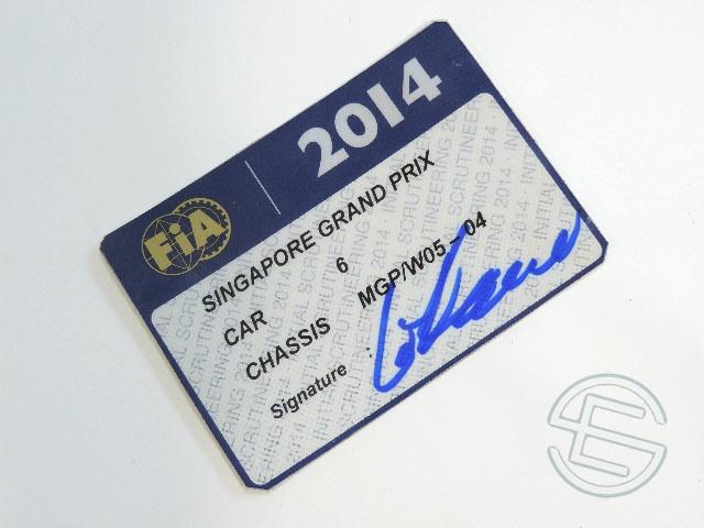【送料無料】 ニコ・ロズベルグ 2014年 メルセデス AMG シンガポールGP W05-04 実使用 車検証 (海外直輸入 F1 非売品USEDグッズ)
