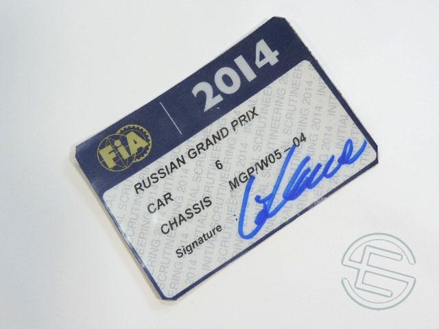 【送料無料】 ニコ・ロズベルグ 2014年 メルセデス AMG ロシアGP W05-04 実使用 車検証 (海外直輸入 F1 非売品USEDグッズ)