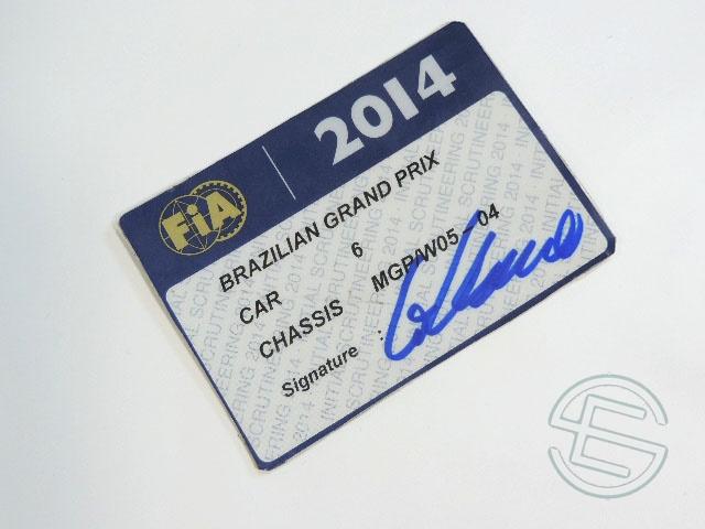 【送料無料】 ニコ・ロズベルグ 2014年 メルセデス AMG ブラジルGP W05-04 実使用 車検証 (海外直輸入 F1 非売品USEDグッズ)
