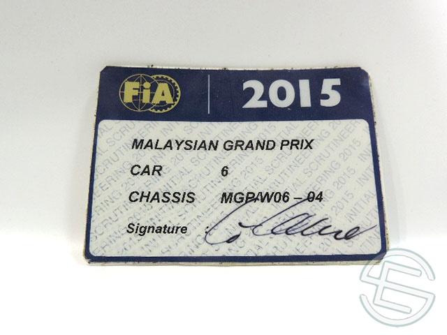 【送料無料】 メルセデス AMG 2015年 マレーシアGP ロズベルグ車用 実使用 車検証 (海外直輸入 F1 非売品USEDグッズ)