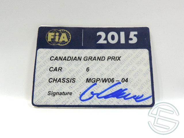 【送料無料】 メルセデス AMG 2015年 カナダGP ロズベルグ車用 実使用 車検証 (海外直輸入 F1 非売品USEDグッズ)