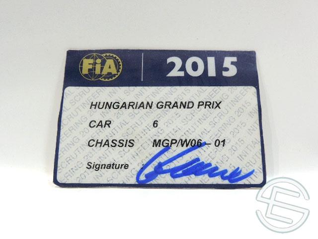 【送料無料】 メルセデス AMG 2015年 ハンガリーGP ロズベルグ車用 実使用 車検証 (海外直輸入 F1 非売品USEDグッズ)