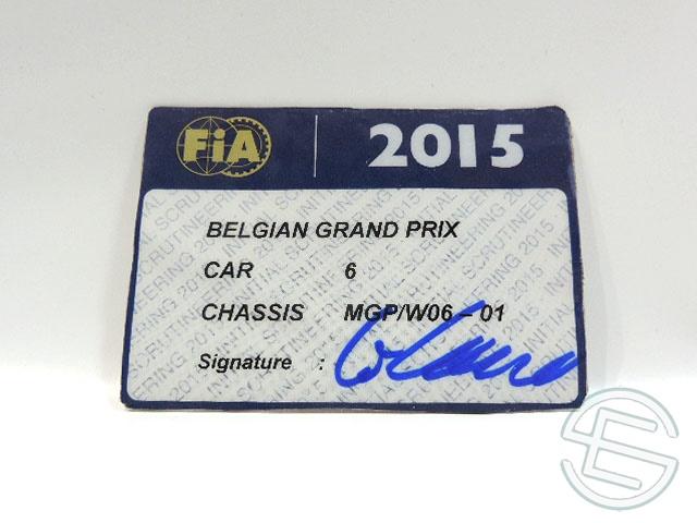 【送料無料】 メルセデス AMG 2015年 ベルギーGP ロズベルグ車用 実使用 車検証 (海外直輸入 F1 非売品USEDグッズ)