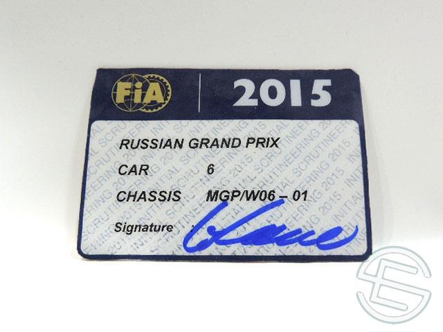 【送料無料】 メルセデス AMG 2015年 ロシアGP ロズベルグ車用 実使用 車検証 (海外直輸入 F1 非売品USEDグッズ)