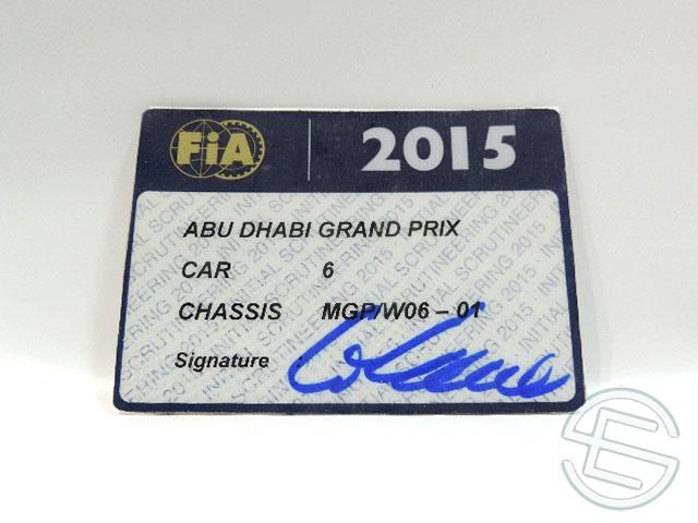 【送料無料】 メルセデス AMG 2015年 アブダビGP ロズベルグ車用 実使用 車検証 (海外直輸入 F1 非売品USEDグッズ)