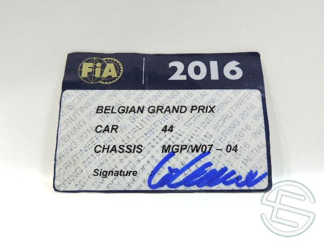 【送料無料】 メルセデス AMG 2016年 ベルギーGP ハミルトン車用 実使用 車検証 (海外直輸入 F1 非売品USEDグッズ)