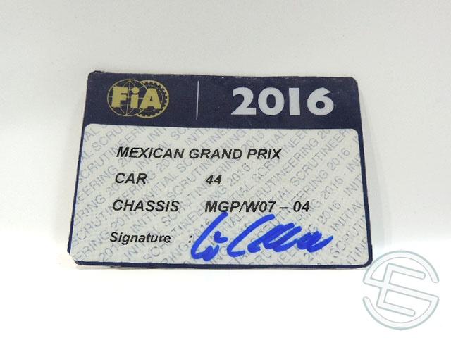 【送料無料】 メルセデス AMG 2016年 メキシコGP ハミルトン車用 実使用 車検証 (海外直輸入 F1 非売品USEDグッズ)