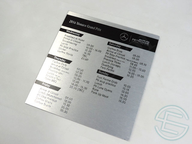 【送料無料】 メルセデス AMG 2016年 モナコGP 支給品 タイミングボード (海外直輸入 F1 非売品USEDグッズ ベンツ)