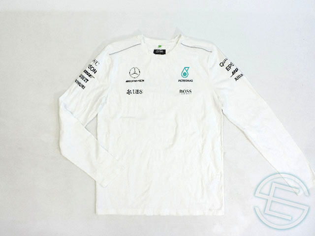 2993488d6 Stretch material long sleeves T-shirt white white M (overseas direct import  F1 article ...