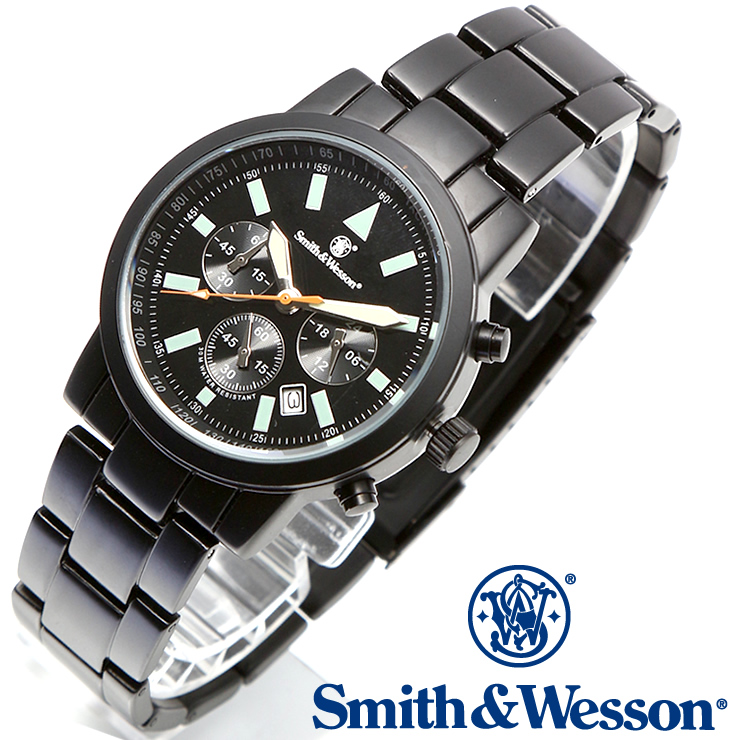 [正規品] スミス&ウェッソン Smith & Wesson クロノグラフ ミリタリー腕時計 PILOT WATCH CHRONOGRAPH BLACK SWW-169 [あす楽]