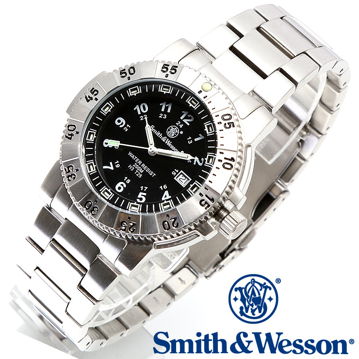 [正規品] スミス&ウェッソン Smith & Wesson スイス トリチウム ミリタリー腕時計 SWISS TRITIUM 357 SERIES AVIATOR WATCH SILVER SWW-357-SS [あす楽]