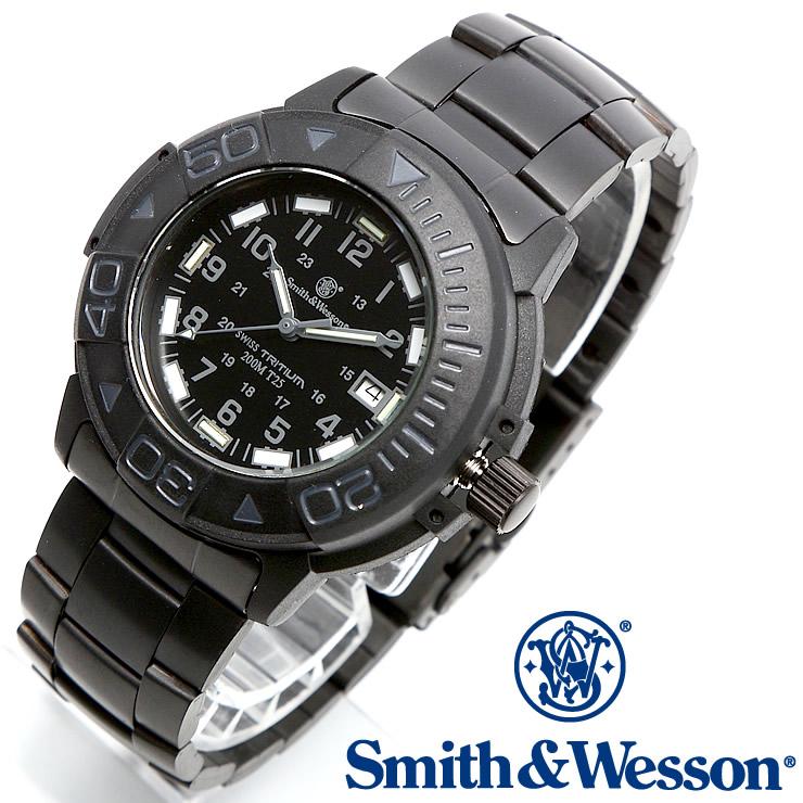 [正規品] スミス&ウェッソン Smith & Wesson スイス トリチウム ミリタリー腕時計 SWISS TRITIUM DIVER WATCH BLACK/BLACK SWW-900-BLK [あす楽] [ ラッピング無料 送料無料 ]