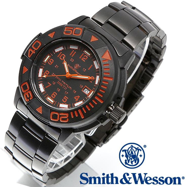 [正規品] スミス&ウェッソン Smith & Wesson スイス トリチウム ミリタリー腕時計 SWISS TRITIUM DIVER WATCH BLACK/ORANGE SWW-900-OR [あす楽]