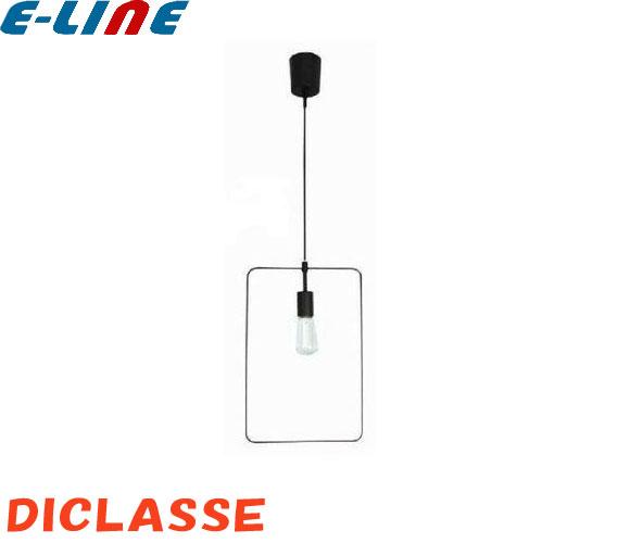 DI CLASSE LP3112BK Scenario L pendant lamp シェナーリオ L color:biack material:steel sizev:W300,D4,H450 高さ調整:(全高)min600-max1200 E-26 60W 白熱 レトロ球付(白熱球30W相当の明るさ) 引っ掛けシーリングワイヤー吊り ブラックコード 「送料区分D」