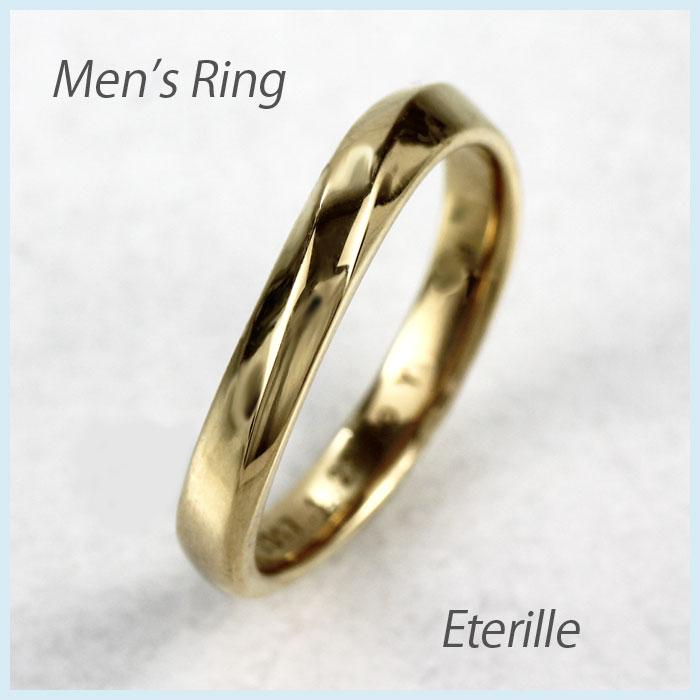 リング ダイヤモンド 指輪 メンズ カーブ ウェーブ マリッジリング ダイヤモンド 結婚指輪 ゴールド 18k k18 18金