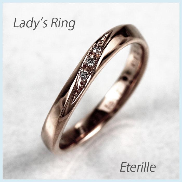 【500円OFF】リング ダイヤモンド 指輪 レディース カーブ ウェーブ k18 18k 18金 ゴールド マリッジリング ダイヤモンド 指輪 結婚指輪