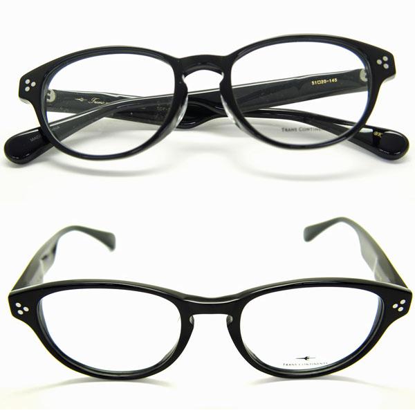 メガネ 眼鏡 メガネ 度付き メガネセット 送料無料 トランス コンチネンタル 307 ブラック セルロイドフレーム メガネフレーム レンズセット HOYAレンズセット