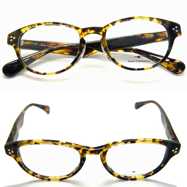 メガネ 度付き HOYA1.60非球面 又は HOYA1.60非球面ブルーカットレンズ付き メガネセット 送料無料 トランス コンチネンタル 307 ブラウンハバナ セルロイドフレーム