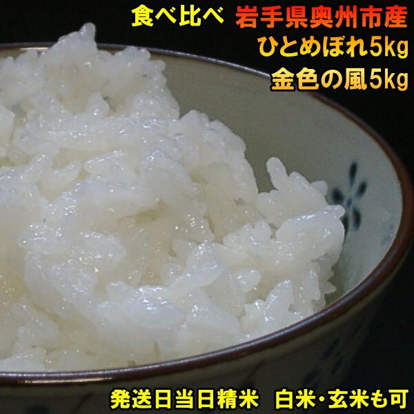 【ふるさと納税】高級米食べ比べ 岩手県奥州市産 ひとめぼれ5kg&金色の風5kg[AC38]