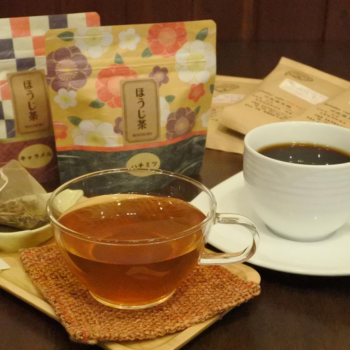 【ふるさと納税】こだわりの自家焙煎コーヒー(粉)3種類とフレーバーほうじ茶のセット