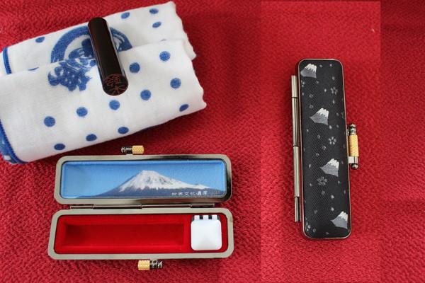 【ふるさと納税】a10-248 富士山印鑑ケース「ご来光」黒色写真と認印