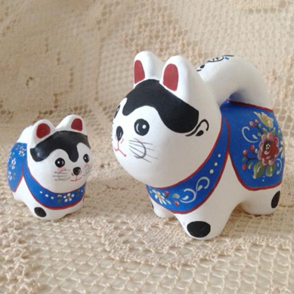 【ふるさと納税】a19-014 花柄 手描き 犬張り子セット