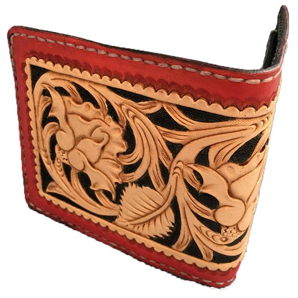 【ふるさと納税】a65-030 本革フルカービング二つ折りレディース財布