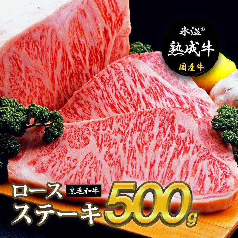 ふるさと納税 氷温 正規認証品!新規格 R 熟成牛 ロースステーキ 2枚で合計500g 並行輸入品 黒毛和牛