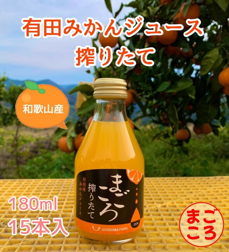 【ふるさと納税】【まごころ】有田みかんジュース100% 180ml 15本
