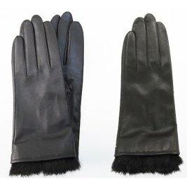 【ふるさと納税】手袋 羊革 レディース 黒・茶(ファー付) 【ファッション・小物】