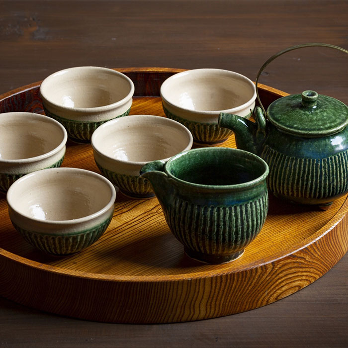 【ふるさと納税】BBK003 織部釉の茶器セット【抱星窯】