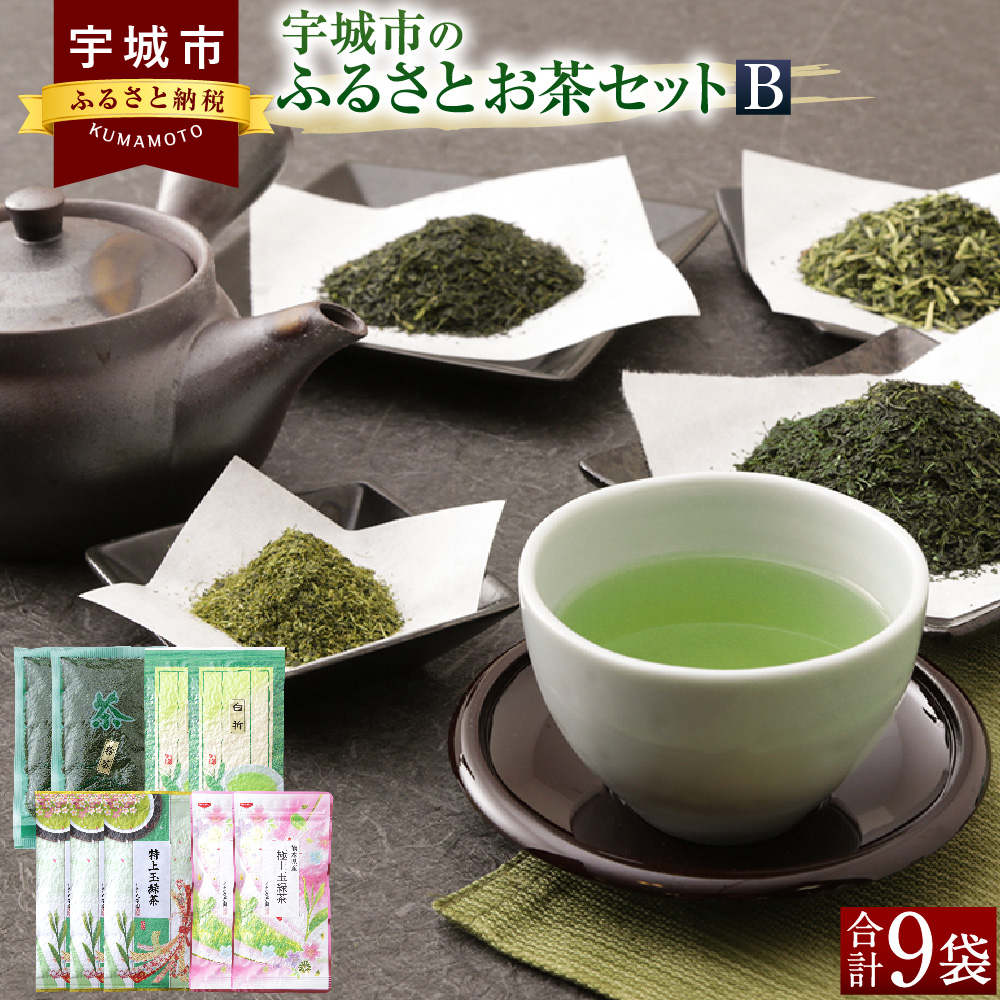 【ふるさと納税】宇城市のふるさとお茶セットB 日本茶 茶葉 緑茶 お茶 お茶っ葉 粉茶 セット 送料無料