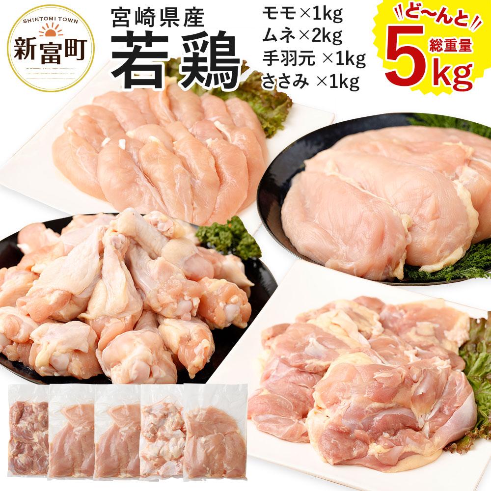 【ふるさと納税】宮崎県産 若鶏セット 合計5kg 5000g 鶏肉 鳥肉 お肉 もも肉 1kg むね肉 2kg ささみ 1kg 手羽元1kg 冷凍 送料無料 国産 九州産