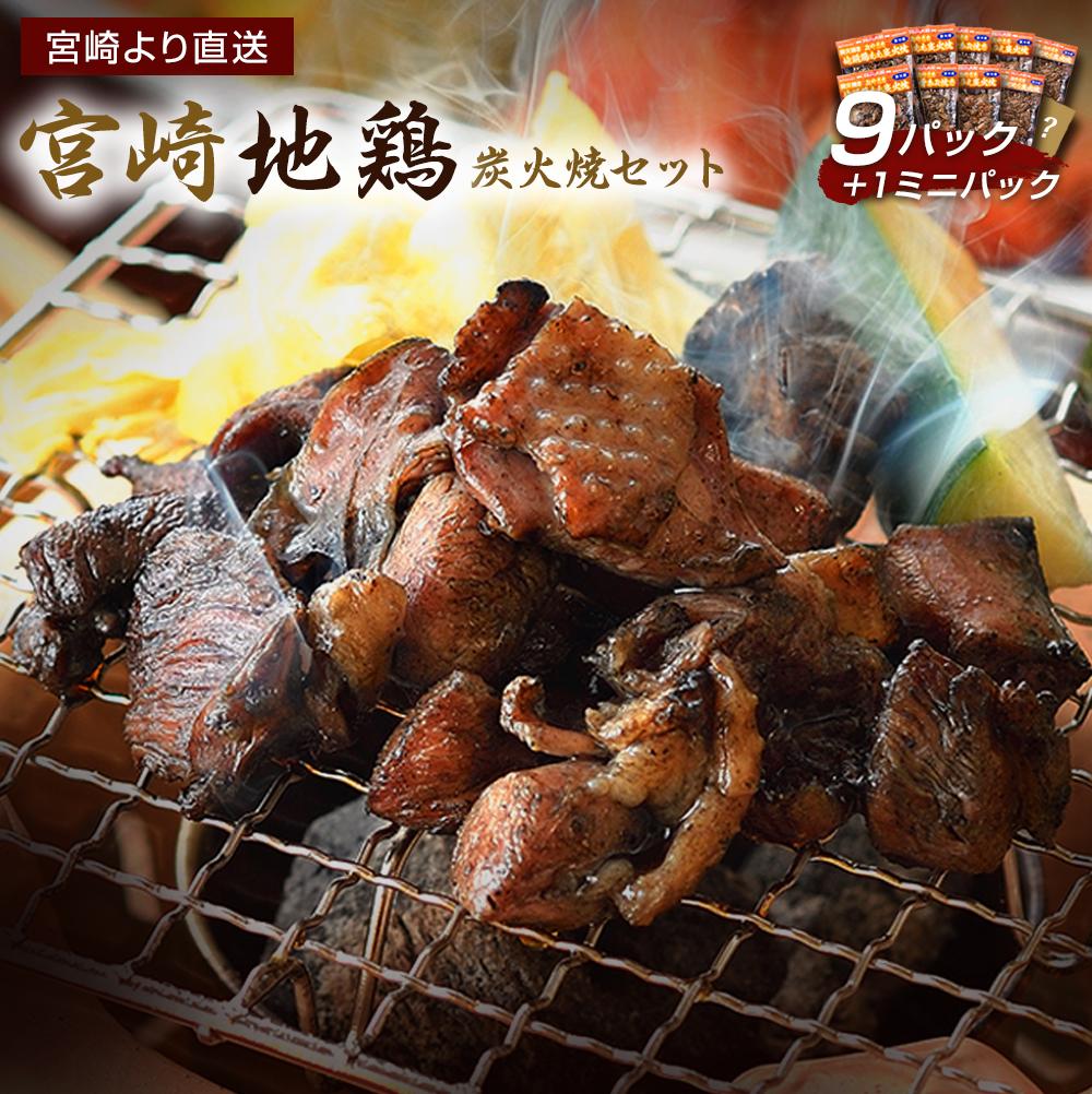【ふるさと納税】宮崎地鶏 鶏炭火焼きセット(9パック+ミニ1パック) 宮崎 地鶏 若鶏 もも肉 ハラミ なん骨 せせり 真空パック 宮崎直送 冷蔵 送料無料