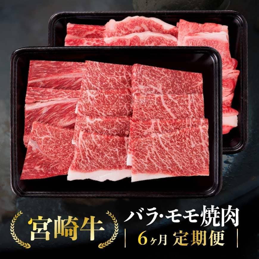 【ふるさと納税】定期便 宮崎牛『バラ・モモ焼肉』6ヶ月定期便