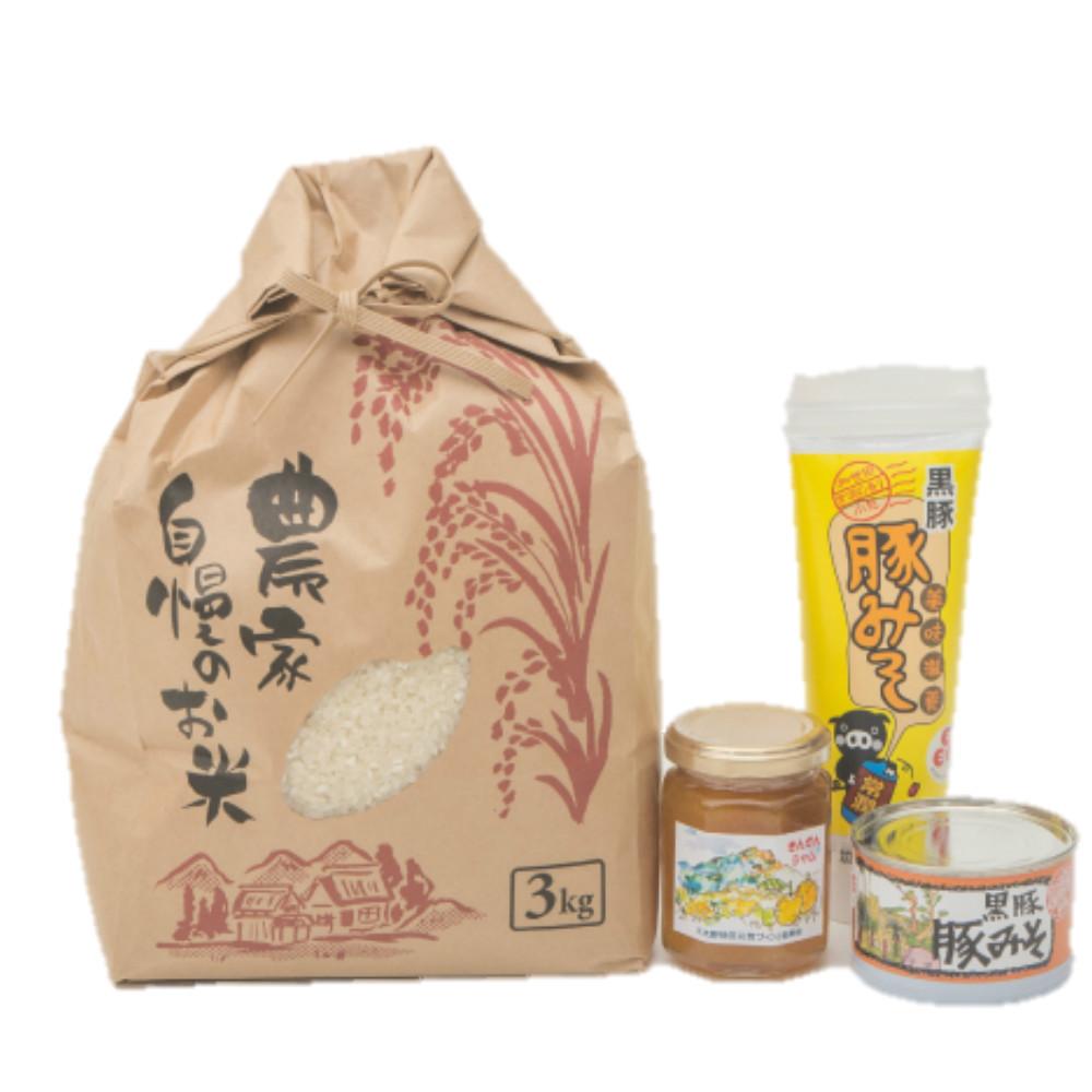 □【ふるさと納税】【鹿児島県南さつま市産】お米3kg・豚みそ・季節のジャムセット