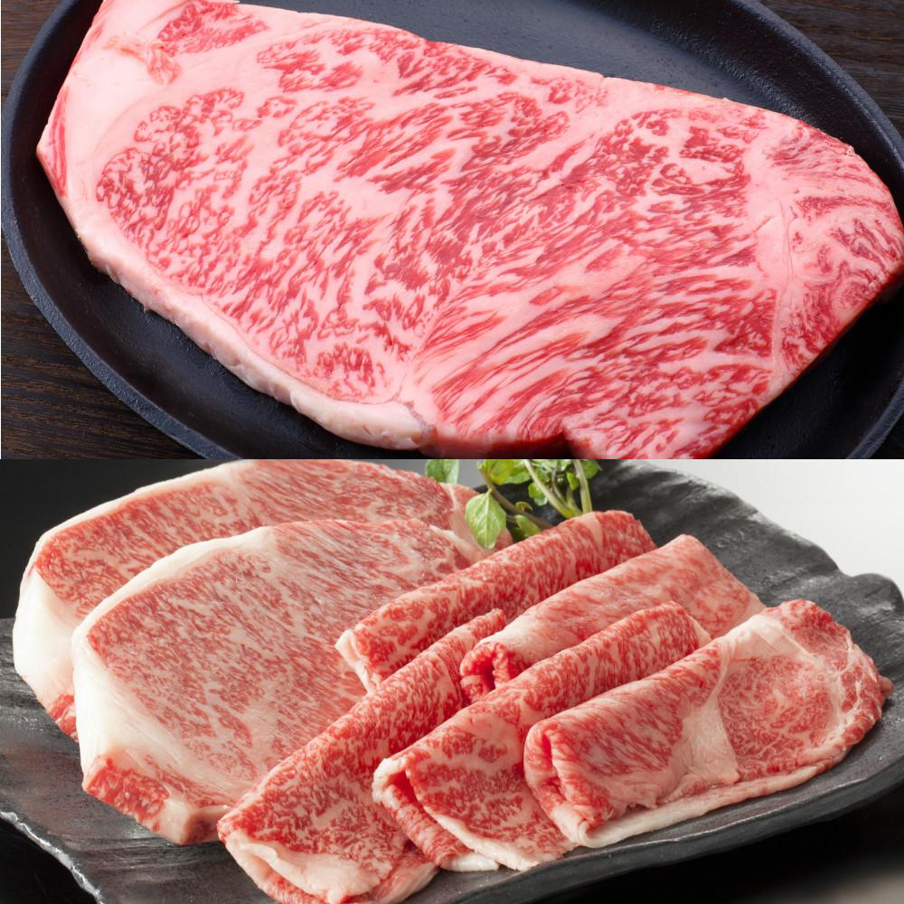 □【ふるさと納税】【和牛日本一】5等級 鹿児島黒牛サーロインステーキ4枚 & すきやき用1.5kg
