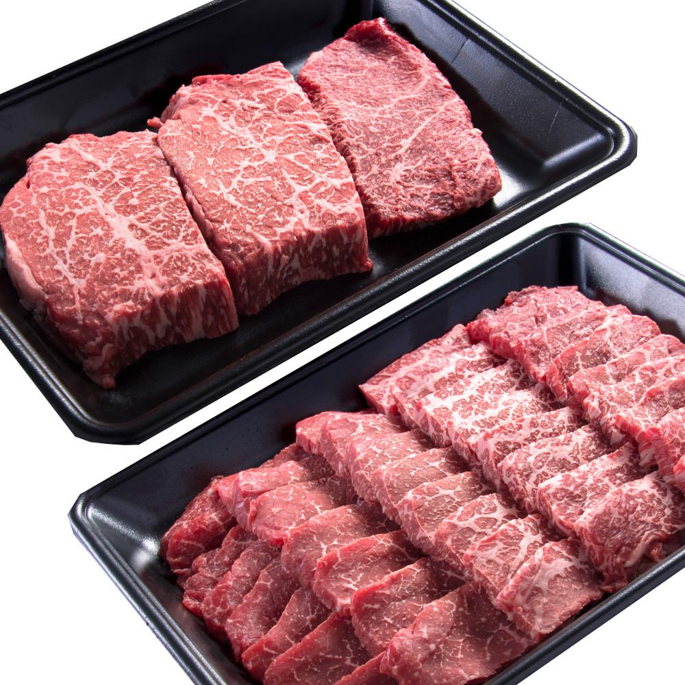 □【ふるさと納税】【鹿児島県産】A5 黒毛和牛 赤身ステーキ300g & 赤身焼肉400g